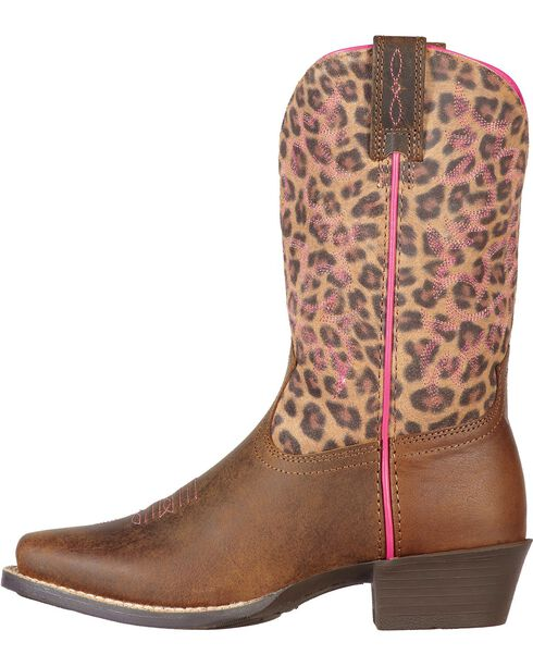 Ariat Youth Girls' Legend Distressed Leopard Print Boots, Brown, hi-res