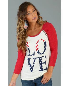 Wrangler Women's Ivory Love Americana Baseball Tee, Ivory, hi-res