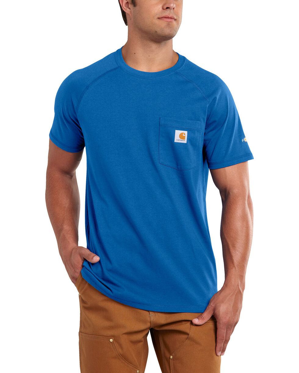 Carhartt Men's Force Cotton Blue Short Sleeve Shirt, Med Blue, hi-res