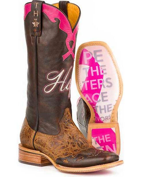 Tin Haul Staying Strong with Hope Cowgirl Boots - Square Toe, Brown, hi-res