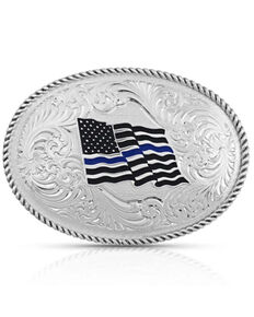 Montana Silversmiths Men's Thin Blue Line Flag Belt Buckle, Silver, hi-res