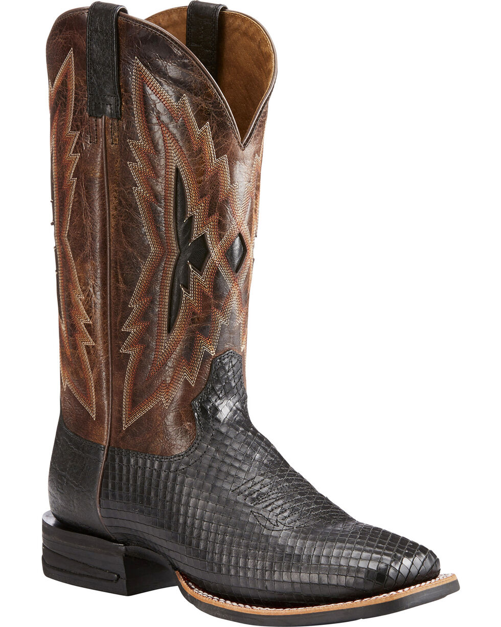 Ariat Men's Black Top Notch Serpent Print Boots - Square Toe , Black, hi-res