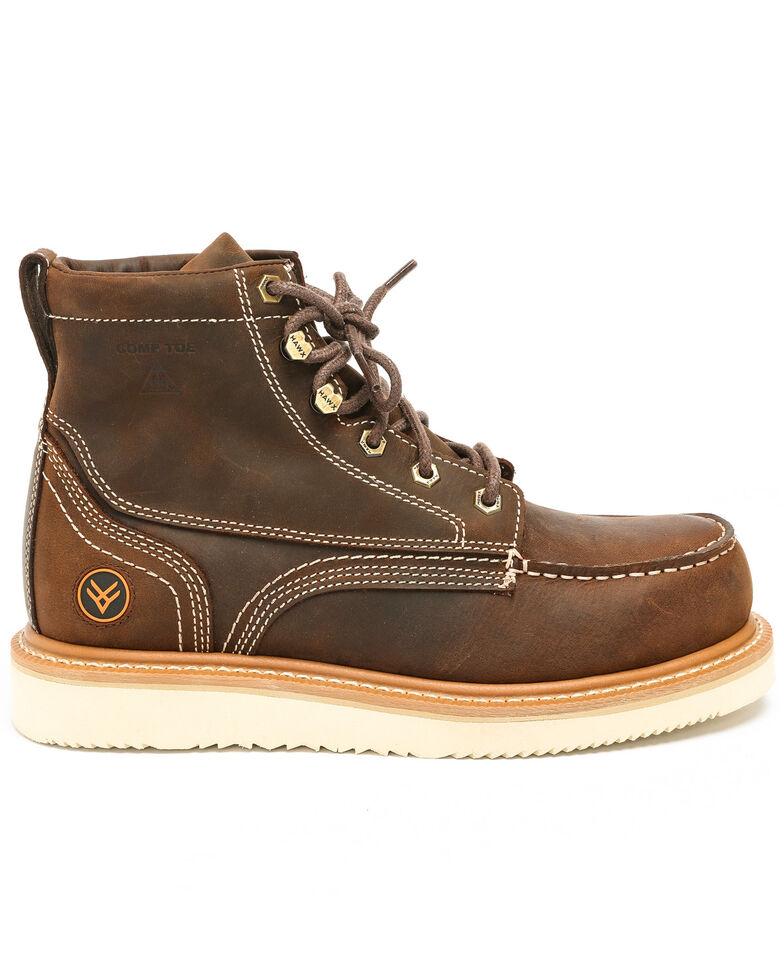 Hawx Men's Grade Moc Distressed Wedge Work Boots - Composite Toe, Distressed Brown, hi-res