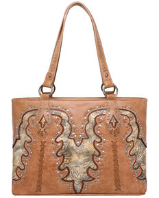 Montana West Women's Boot Scroll Travel Bag, Tan, hi-res