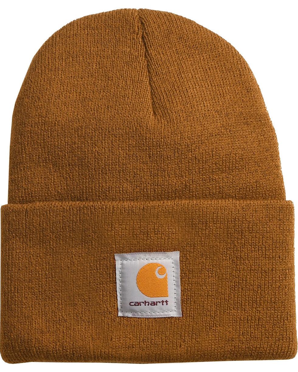 Carhartt Men's Brown Flag Patch Acrylic Watch Hat , Brown, hi-res