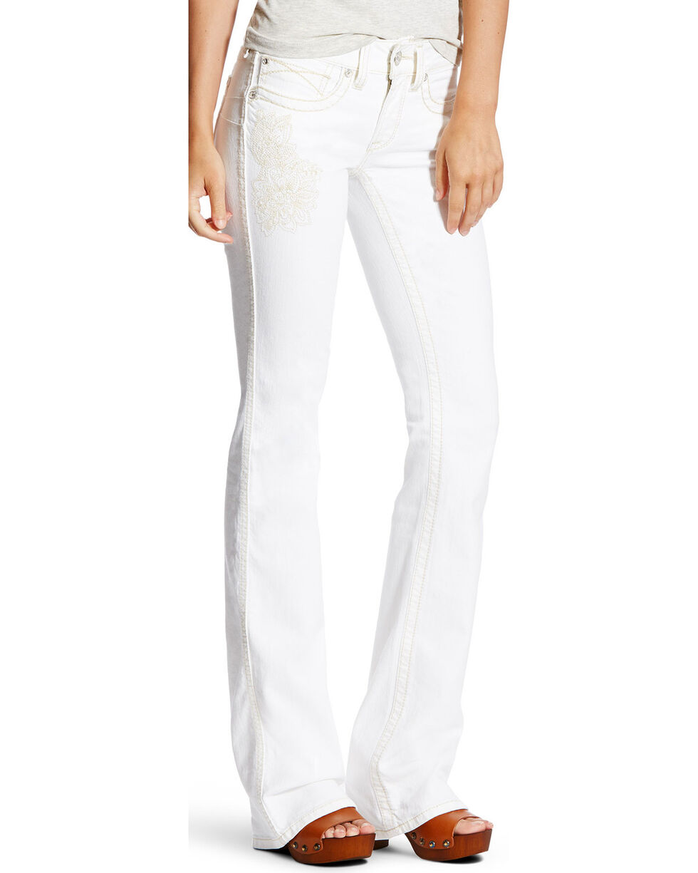 Ariat Women's R.E.A.L. Folk Flower Mid Rise Jeans - Boot Cut, White, hi-res