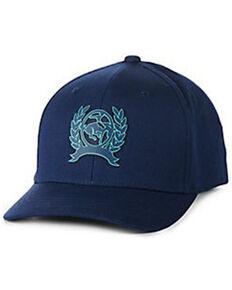 Cinch Men's Solid Navy Raised Rubber Logo Flex-Fit Ball Cap , Navy, hi-res