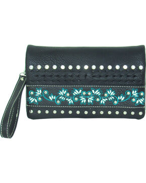 Savana Women's Faux Leather Embroidered Crossbody , Black, hi-res