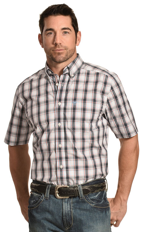 Ariat Men's Performance Fitted Elizar Plaid Short Sleeve Shirt, Multi, hi-res