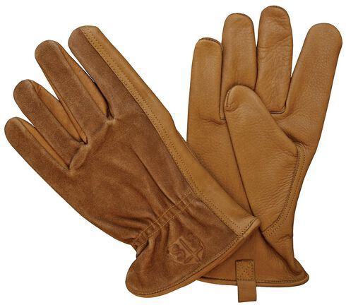 STS Ranchwear Two-Tone Leather Gloves, Brown, hi-res