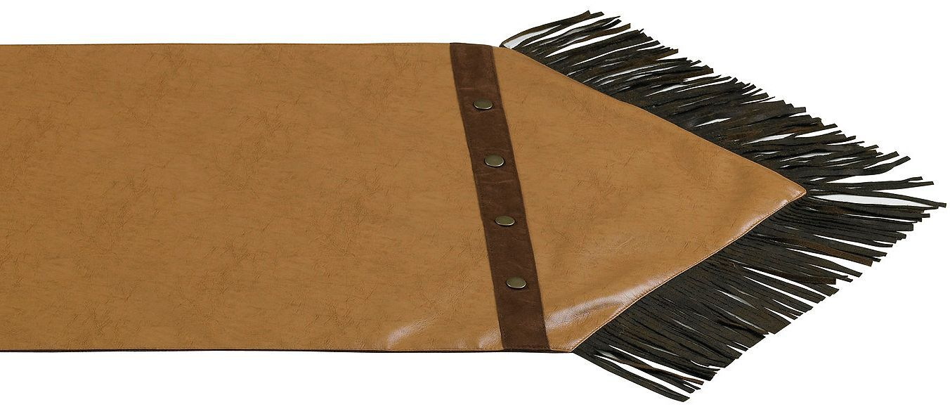 Beau HiEnd Accents Tan Faux Leather Table Runner, Tan, Hi Res