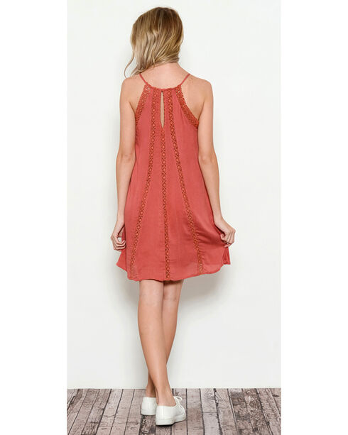 Illa Illa Women's Sleeveless Dress with Lace Detail, Coral, hi-res