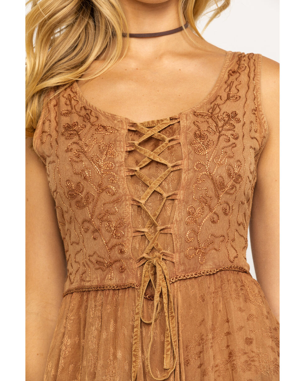 Scully Women's Lace-Up Jacquard Dress, Beige/khaki, hi-res