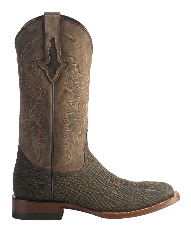 Lucchese Men's 1883 Horseman Sanded Shark Cowboy Boots - Square Toe, Chocolate, hi-res