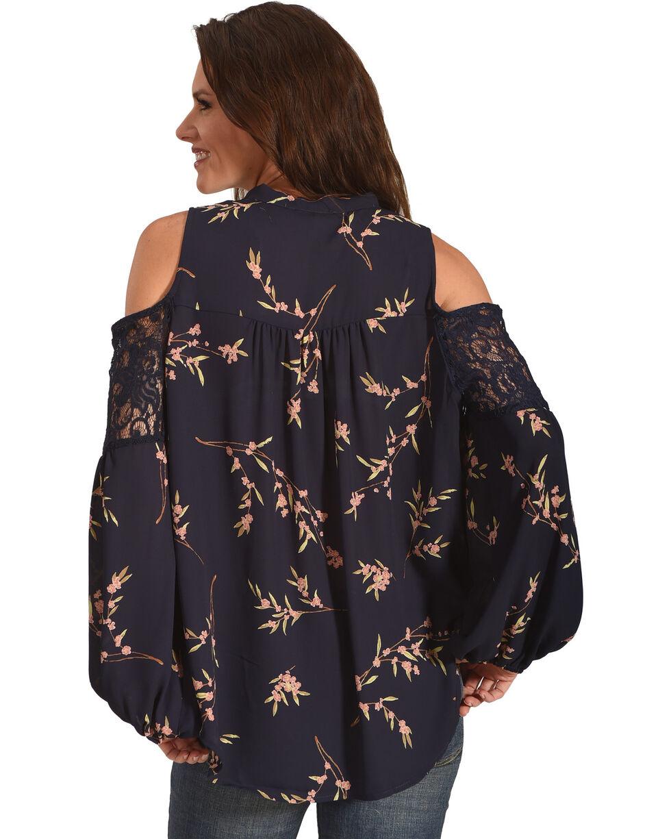 Miss Me Women's Navy Cold Shoulder Floral Print Top , Navy, hi-res