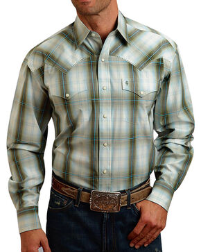 Stetson Men's Plaid Western Long Sleeve Shirt, Olive, hi-res