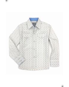 Ely Walker Boys' Multi Aztec Print Long Sleeve Western Shirt , White, hi-res