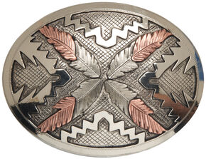 "AndWest Vintage ""Saguaro"" Navajo Feathers Buckle, Two Tone, hi-res"