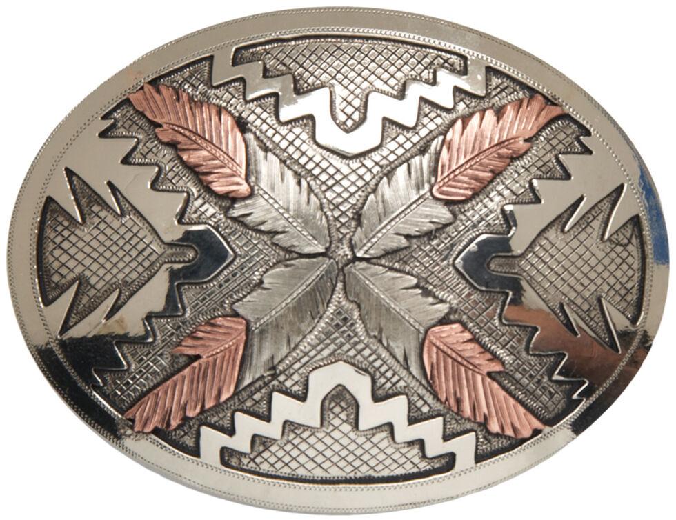 "AndWest Vintage ""Saguaro"" Navajo Feathers Buckle, Two Tone, hi-res"