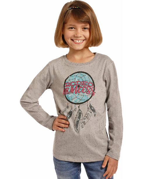 Rock & Roll Cowgirl Girls' Rodeo Princess Dream Catcher Tee, Grey, hi-res