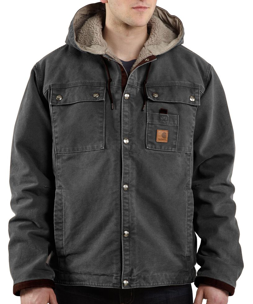 Carhartt Sandstone Hooded Sherpa-Lined Multi Pocket Jacket - Big & Tall, Grey, hi-res