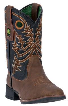 John Deere Kid's Brown Western Boots - Square Toe, Tan, hi-res