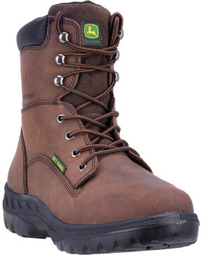 "John Deere Men's 8"" Waterproof Metatarsal Guard Boots - Steel Toe, Brown, hi-res"