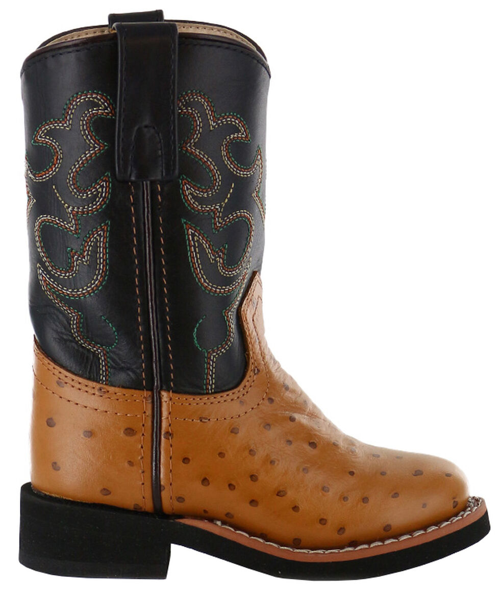 Cody James Boys' Ostrich Print Western Boots - Round Toe, Cognac, hi-res