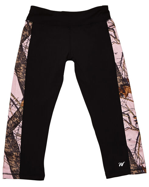 Wilderness Dreams Black and Pink Mossy Oak Break-Up Active Capris, Black, hi-res