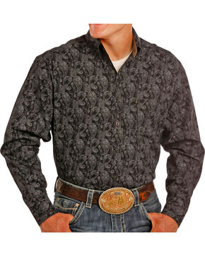Tuf Copper Men's Black Paisley Print Shirt , Black, hi-res