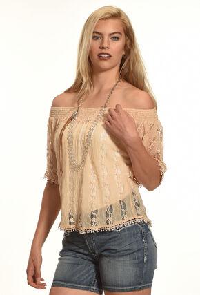 Tantrums Women's Lace Peasant Top, Mauve, hi-res