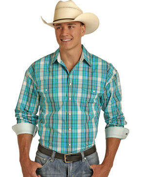 Panhandle Men's Poplin Plaid Shirt , Blue, hi-res