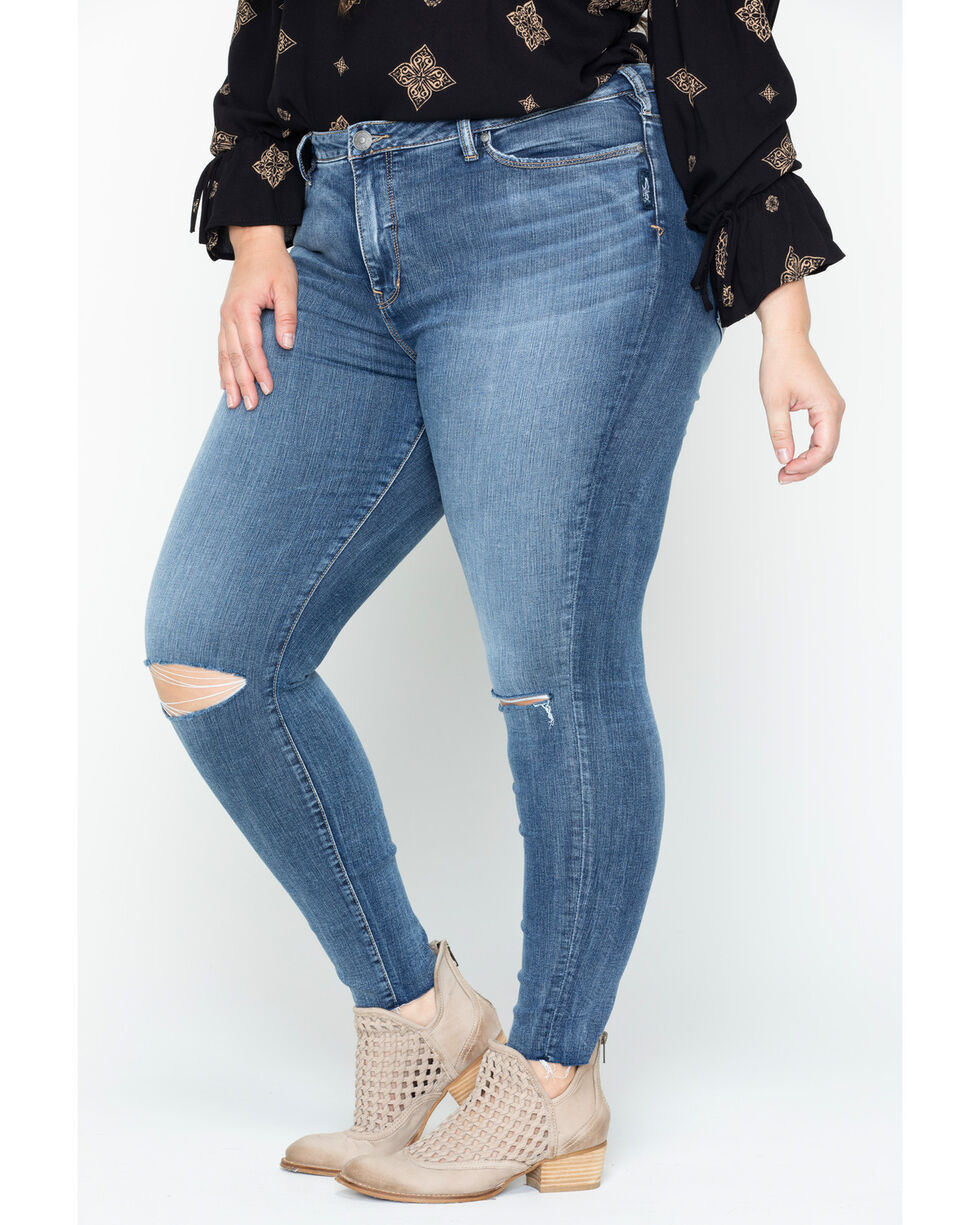 Silver Women's Medium Wash Robson Jeggings - Plus Size, Indigo, hi-res