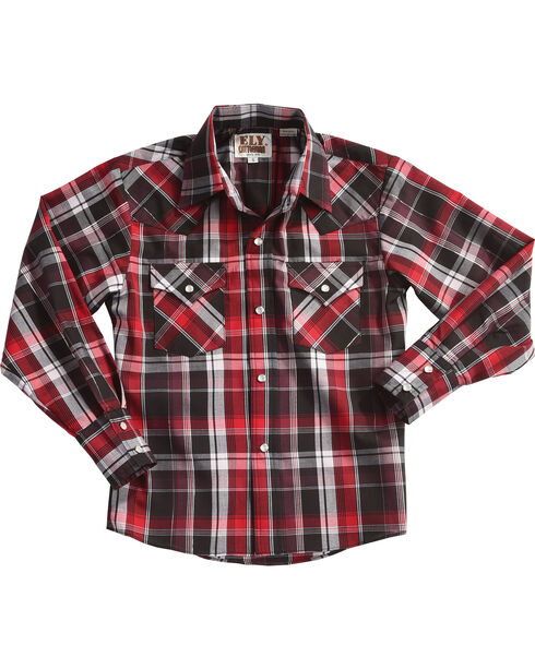 Ely Cattleman Boys' Red Long Sleeve Lurex Plaid Snap Shirt, Red, hi-res