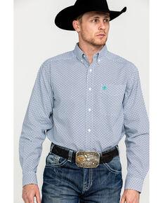 Ariat Men's Randall Geo Print Long Sleeve Western Shirt , Blue, hi-res
