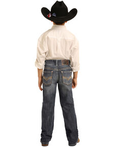 Rock & Roll Cowboy Boys' Medium Reflex Stretch Denim Bootcut Jeans , Blue, hi-res