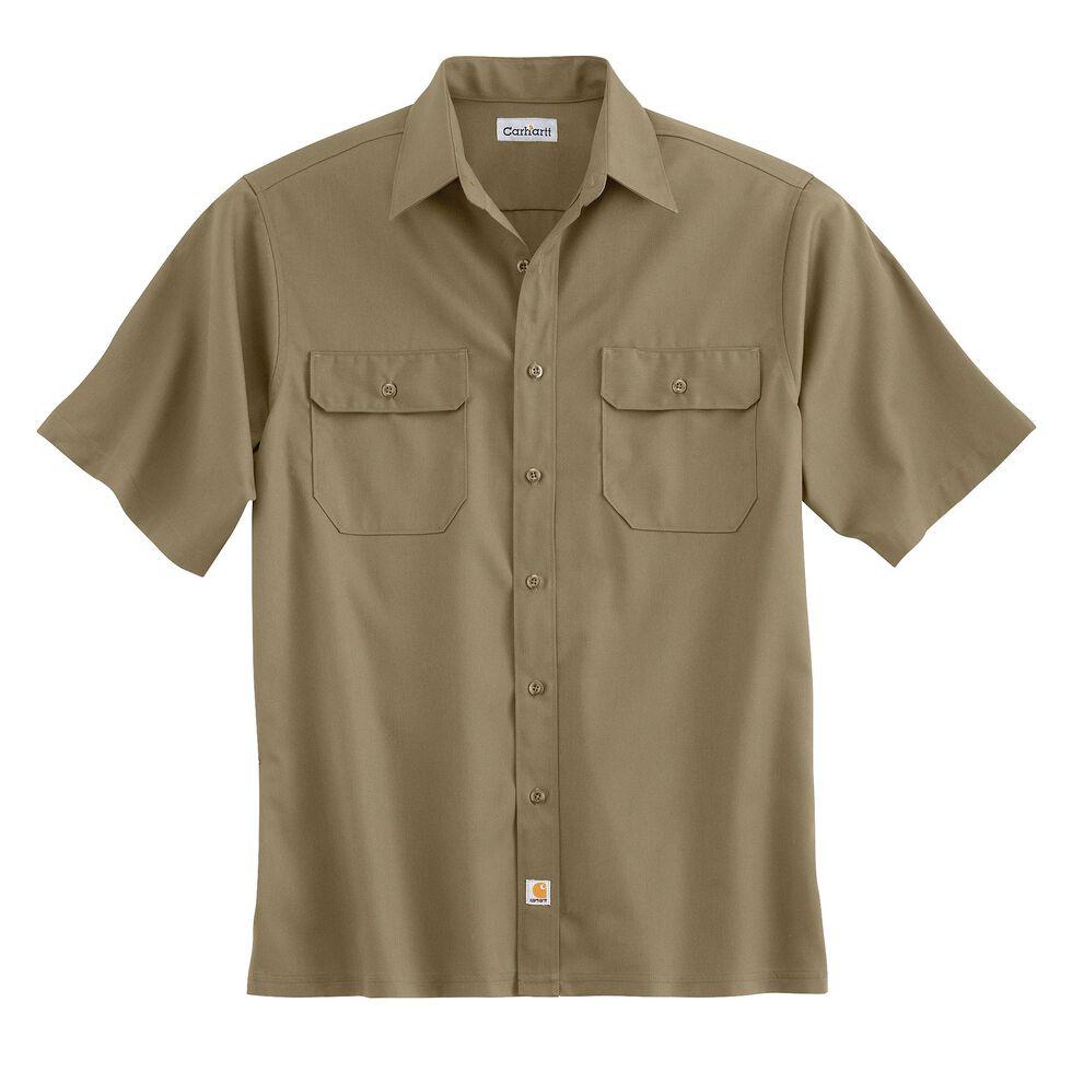 Carhartt Twill Work Short Sleeve Work Shirt, Khaki, hi-res