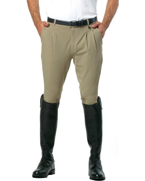 Ovation Men's Euroweave Pleat Knee Patch Breeches, Tan, hi-res