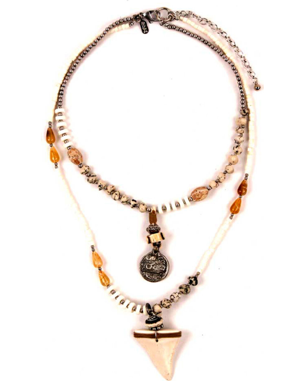 Treska Women's High Low Beaded Shark Tooth Necklace, White, hi-res