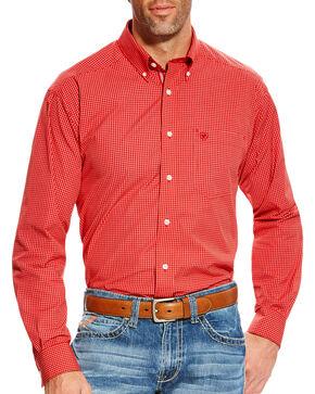 Ariat Men's Orange Boaz Checkered Western Shirt , Orange, hi-res