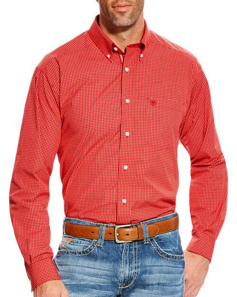 Ariat Men's Orange Boaz Checkered Western Shirt - Tall, Orange, hi-res