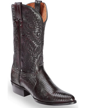Dan Post Raleigh Cherry Lizard Cowboy Boots - Round Toe  , Black Cherry, hi-res