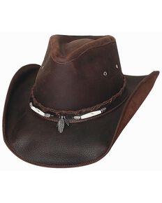 Bullhide Briscoe Leather Cowboy Hat, Chocolate, hi-res