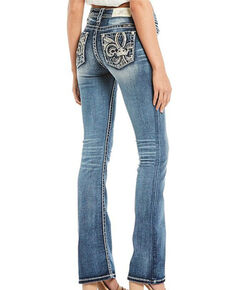Miss Me Women's Fleur Dark Boot Jeans , Blue, hi-res
