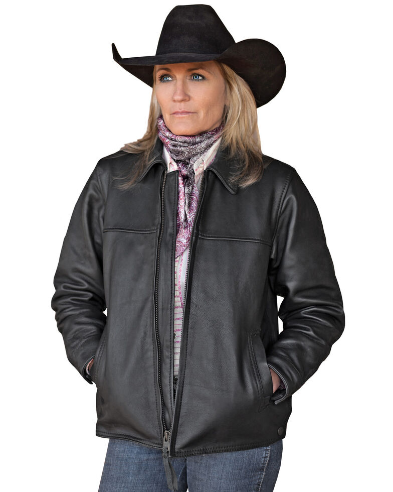 STS Ranchwear Women's Rifleman Black Leather Jacket, Black, hi-res