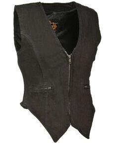 Milwaukee Leather Women's Side Stretch Zipper Front Denim Vest - 4X, Black, hi-res