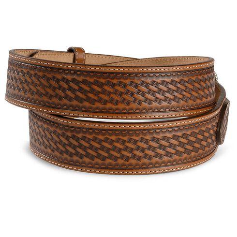 Justin Basketweave Leather Ranger Belt - Reg & Big, Brown, hi-res