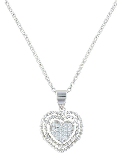 Montana Silversmiths Women's Roped My Heart Necklace , Silver, hi-res