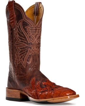 Cinch ® Caiman Wingtip Cowgirl Boots - Square Toe, Cognac, hi-res