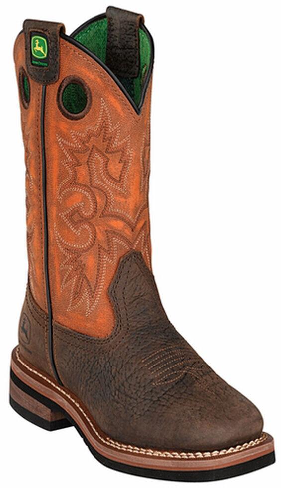 John Deere Boys' Johnny Popper Orange Western Boots - Square Toe, , hi-res